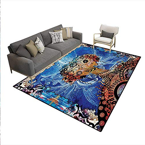Carpet,Indie Style Sketchy Retro Tree Flower Forms on Paisley Backdrop Abstract Image,Print Area Rug,Blue Brown,5'x7'