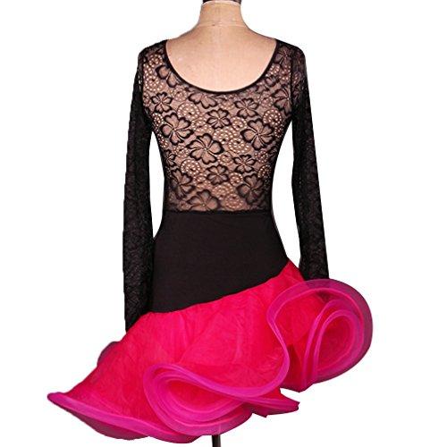 M Per Cavo Da Wqwlf collo Latino Pizzo Tuta Prospettiva Donne Prestazione Ballo Rose Costume s Latina Concorso Vestito Indietro Professionale V WPPnUqX