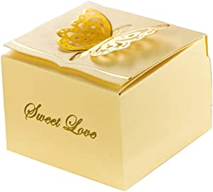 "KAZIPA 50pcs Laser Cut Candy Boxes,2.6"" x 2.6"" x 1.6"" Butterfly Favor Boxes for Annivesary Party Wedding Favor, Light Yellow"