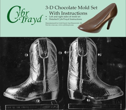 Cybrtrayd K075AB 3D Cowboy Boot Chocolate Candy Mold Bundle with 2 Molds and Exclusive Cybrtrayd Copyrighted 3D Chocolate Molding Instructions