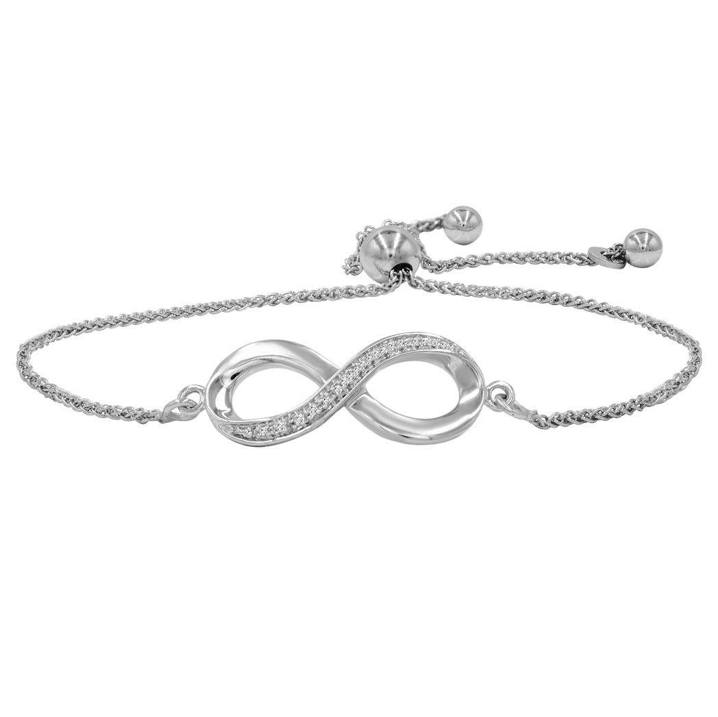AGS Certified Diamond Infinity Bolo Bracelet in .925 Sterling Silver
