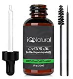 Castor Oil for Pregnancy Organic Castor Oil - 100% USDA Certified Pure Cold Pressed - Boost Growth Eyelashes, Hair, Eyebrows, Face and Skin with Vitamin E, Minerals and Proteins - includes Treatment Applicator Kit 1oz (30ml)