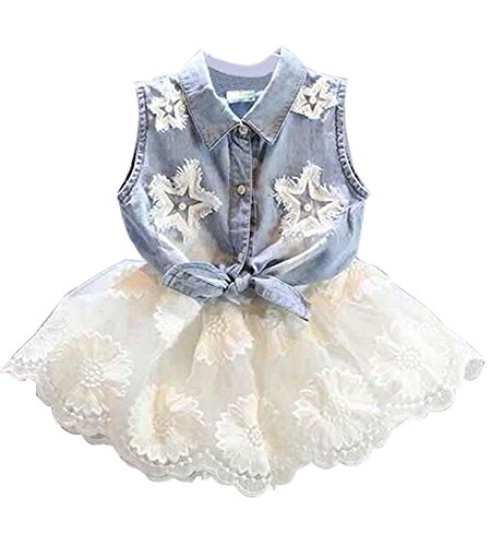 EGELEXY Summer Kids Girls Denim Vest+ White Tutu Lace Chiffon Skirt Dress (1-2Years, Jean+White) -