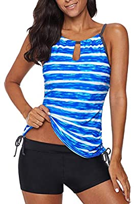 REKITA Womens Stripe Printed Tankini Top with Boyshort Swimsuits Bathing Suits