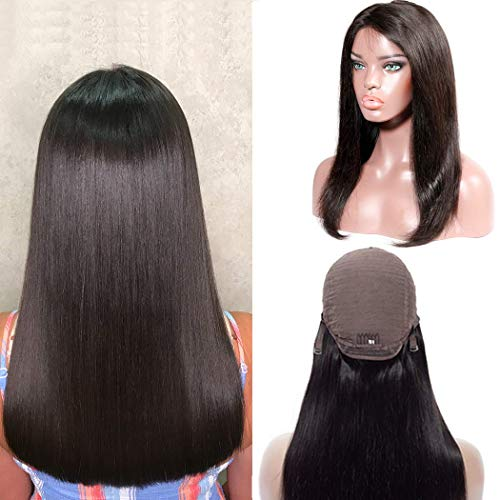 Brazilian Straight Lace Front Wig Human Hair For Black Women Silk Top Swiss Lace Pre Plucked Bleached Knots With Baby Hair 13x4 Lace Frontal Free Part Can Change To Middle Side Glueless 22 Inch