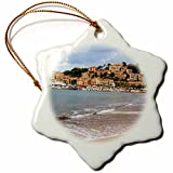 3dRose Danita Delimont - Cities - Spain, Balearic Islands, Mallorca, Port of Soller historic waterfront - 3 inch Snowflake Porcelain Ornament (orn_277908_1)