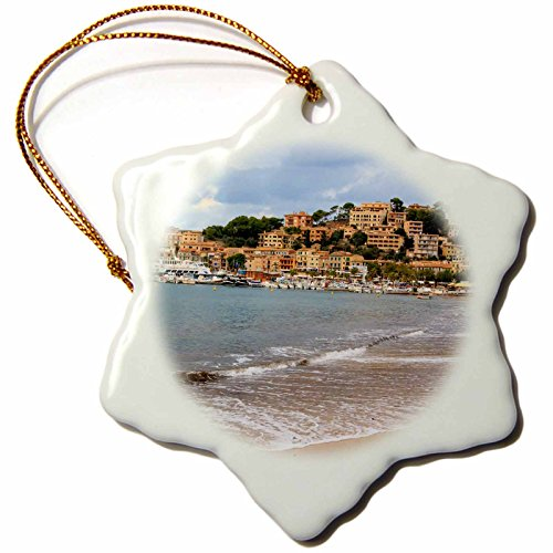 3dRose Danita Delimont - Cities - Spain, Balearic Islands, Mallorca, Port of Soller historic waterfront - 3 inch Snowflake Porcelain Ornament (orn_277908_1) by 3dRose