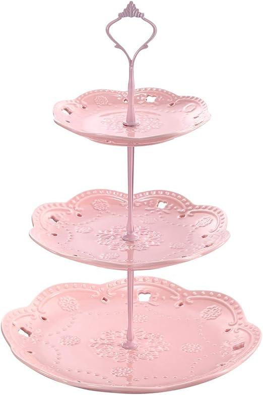 Cupcake Stand 2 Tier Wedding Cake Birthday Elegant Dessert Holder Pink