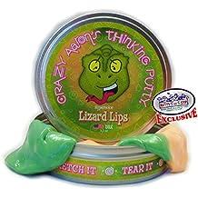 Crazy Aaron's Thinking Putty Lizard Lips Heat Sensitive Hypercolor, 3.2oz Tin, Emerald Green/Peach