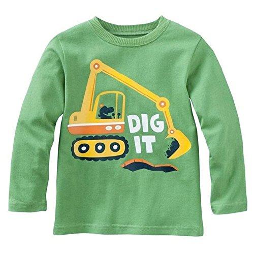 Metee Dresses Boys kids Green long sleeve Cotton T-Shirts Cartoon Tops Size (5 Long Sleeve T-shirt)