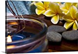 Gallery-Wrapped Canvas entitled Spa elements: candle, plumeria flowers, and grey stones by Great BIG Canvas 60''x40''