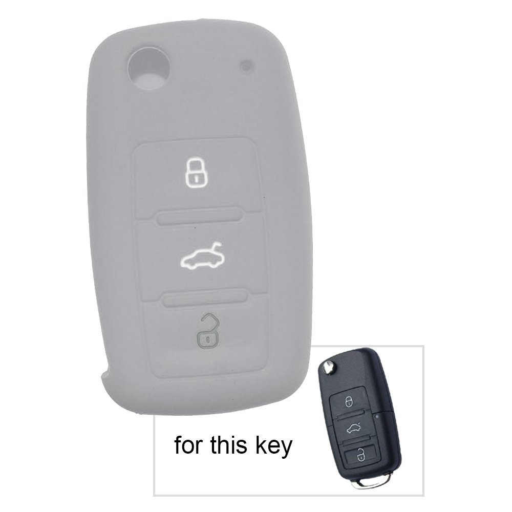 Black 3 Buttons Silicone Cover for Volkswagen Skoda Seat Flip Key