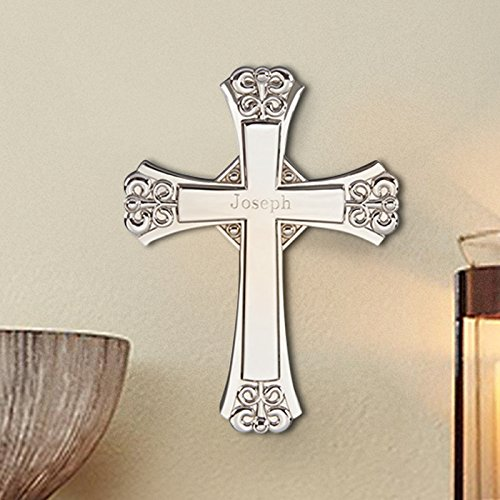 CenterGifts Center Gifts Cross with Wall Hanging Option Engraved | Great Gift for Christmas, Christening, Baptism | Personalize with Name or Message
