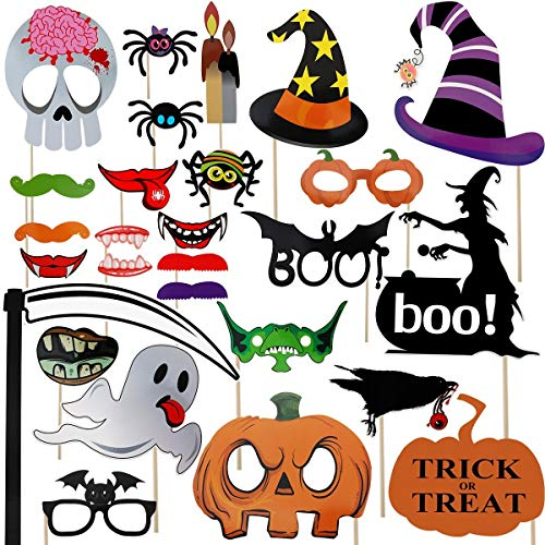 Halloween Props For Photo Booth (Halloween Photo Booth Props 26pcs for Trick or Treat)