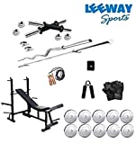 LEEWAY Premium Quality; Professional Steel Weight Plates Set With Multi Purpose Adjustable 8 in 1 Bench (Flat/ Incline/ Decline Bench, Leg Pulley, Dumbbell Fly, Dumbbell Press, Push up and Dips); Home Gym Combo; [10 KG TO 100 KG]; STEEL HOME GYM; Gym Benches; Exercise Bench; Gym Equipment; Home Gym Station; Chrome Weight Gym Set Combo; Chrome Plated Steel Exercise Set (10)