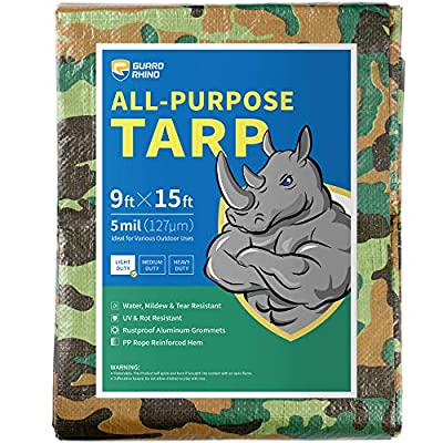GUARD RHINO Camouflage Tarp 9x15 Feet Multi Purpose Waterproof Poly Tarp Cover 5mil