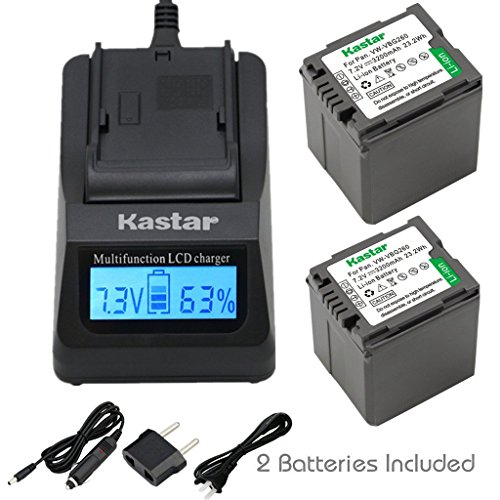 - Kastar Fast Charger + Battery (2-Pack) for Panasonic VW-VBG070, VW-VBG130, VWVBG260, VBG6 and SDR-H40, SDR-H80 Series, HDC-HS700, TM700, HS300, TM300, HS250, SD20, HS20, HDC-SDT750 Camcorders etc.