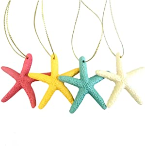 20 Pieces Multi-Colored Resin Pencil Finger Starfish Decor, Home Decor Wedding Decoration and Craft Project, 2.3 Inches, with a Hang Rope DIY Crafts, Fish Tank,Christmas Tree Ornaments