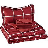 AmazonBasics - Set de cama 5 piezas - 1/2 veces extra larga, de color borgoña, simple, escocesa