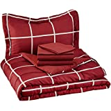 AmazonBasics 5-Piece Bed-In-A-Bag - Twin/Twin Extra-Long, Burgundy Simple Plaid