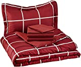 Bed in a Bag Twin Comforter Sets AmazonBasics 5-Piece Bed-In-A-Bag - Twin/Twin Extra-Long, Burgundy Simple Plaid