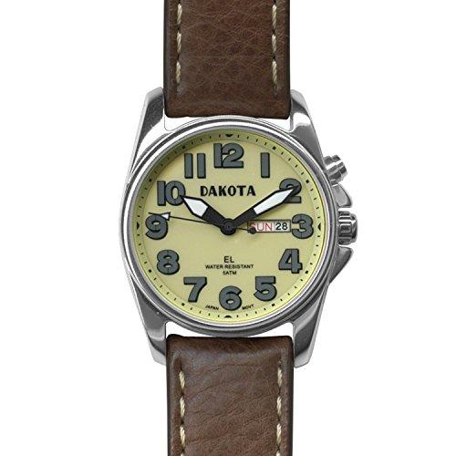 Dakota Men's Steel Angler with Leather Band Watch (Cream/Brown) (Dakota Clip Watch Knife)