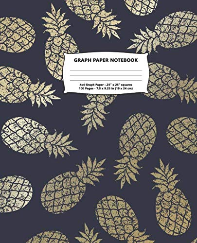 Graph Paper Notebook: Golden Pineapples Quad Ruled 4 x 4 (.25'') Composition Book for Girls Teens and Students for School Writing and Notes