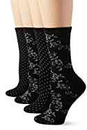 PEDS Women's Black with Silver Spiraling Floral and Dot Crew Socks 4 Pairs