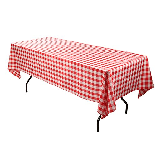 E-TEX Rectangle Tablecloth - 60 x 102 Inch - Red and White Rectangular Table Cloth for 6 Foot Table in Washable Polyester -