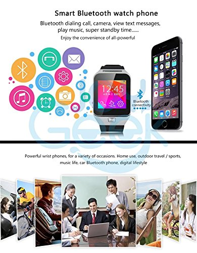Smart Watch,JoyGeek All-in-1 Bluetooth Watch Phone Mate With 1.3MP Camera/Support SIM TF Card/1.54 Inch Touch Screen For iOS Apple iPhone and Android SmartPhones(Silver)