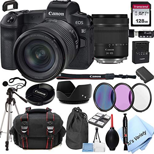 Canon EOS R Mirrorless Digital Camera with 24-105mm f/4-7.1 Lens Bundle + 128GB Memory + Case + Filters + Tripod (24pc…