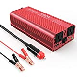 Ampeak 1000W Power, EBTOOLS 500W/1000W Inverter 12V DC to 110V Car Converter with 2 AC Outlets and 2.1A USB Ports for Laptop,Smartphone,Household Appliances in case Emergency, Red