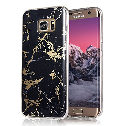 Galaxy S7 Edge Case, COSANO Premium Quality [UV print Semi-transparent Case] for Samsung Galaxy S7 Edge (5.5 inch) Scratch Resistant Shock-Absorbing Case Soft Flexible TPU (Black Marble S7edge)