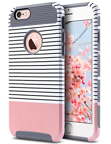- ULAK iPhone 6s Case, iPhone 6 Case, Colorful Series Slim Fit Dual Layer Scratch Resistant Hard Back Cover Shock Absorbent TPU Bumper Case for Apple iPhone 6/6s 4.7 inch(Grey/Pink/Minimal Stripes)