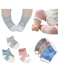 Baby Crawling Anti-Slip Knee and Anti Slip Socks,Unisex Baby Kneepads 3 Pairs