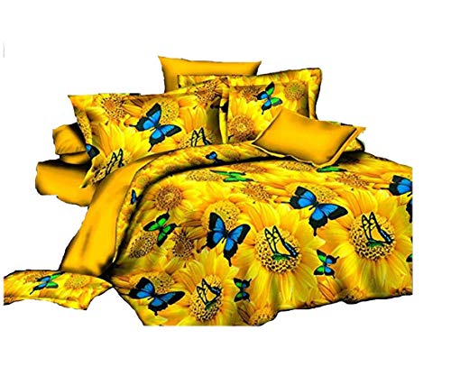 4 Pcs Duvet Comforter 3 D Butterfly Printed Bed Sheet Bed Cover Queen Size