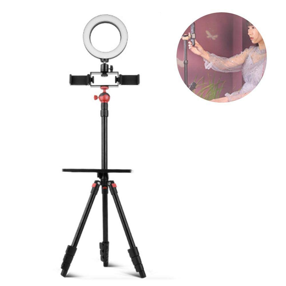 Hamkaw Upgraded Selfie Ring Light with Tripod Stand & Cell Phone Holder for Live Stream/Makeup, 6 Inch Dimmable Led Camera Ringligh Compatible with iPhone Android (3-Light Mode)