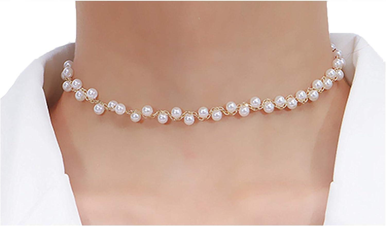 RosyClouds - Collar de perlas para mujer, diseño redondo, estructura blanca translúcida, recuerdo de banquete simple, temperamento, regalo para novia