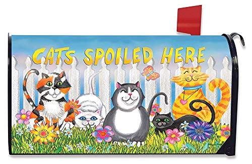 Briarwood Lane Cats Spoiled Here Spring Magnetic Mailbox Cover Floral Humor