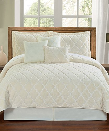 Serenta Faux Fur Ogee Embroidery 7 Piece Bedspread Quilts...