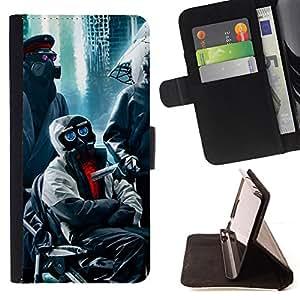 BullDog Case - FOR/Samsung Galaxy S4 Mini i9190 / - / apocalypse gas mask robots red eyes city /- Monedero de cuero de la PU Llevar cubierta de la caja con el ID Credit Card Slots Flip funda de cuer