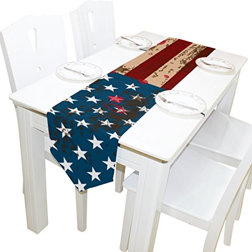 12' Vinyl Magnet Set (Vintage Distressed USA American Flag Rectangle Machine Washable Table Runner , for Wedding, Party,Dinner, Summer & Picnic Country Outdoor Home Decor, 13 x 90 inch)