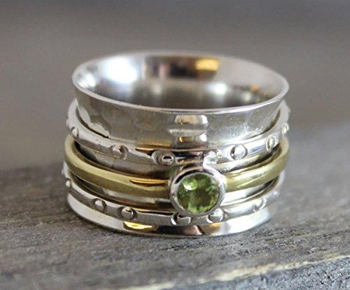 Peridot Sterling Silver Brass Bohemian Spinning Fidget Ring, size 9