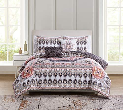 Blush Medallion (VCNY Home Valeria Reversible Medallion 5 Piece Bedding Comforter Set, King, Blush)