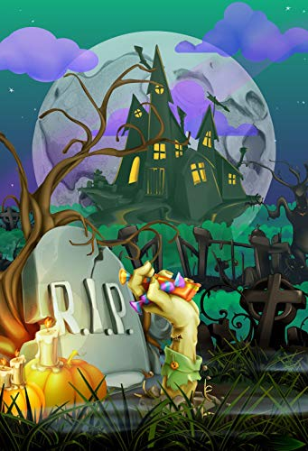 Yeele 4x5ft Halloween Background for Photography Trick Or Treat Rip Candy Corpse Horror Castle Night Photo Backdrop Children Kids Boys Adult Portrait Booth Shoots Studio Props Wallpaper