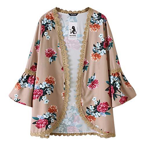 Willow S Women Fashion Casual Chiffon Shawl Floral Print 3/4Sleeve Kimono Cardigan Top Cover Up Loose Blouse Beachwear Khaki