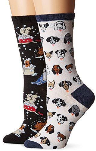 K. Bell Women's 2 Pack Novelty Crew Socks, Dog White/Black, 9-11