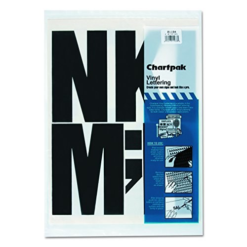 Chartpak Self-Adhesive Vinyl Capital Letters, 6 Inches High, Black, 38 per Pack (01184)