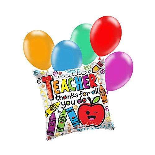 Teacher Appreciation Colorful Balloon Bundle - Set of 6 Balloons