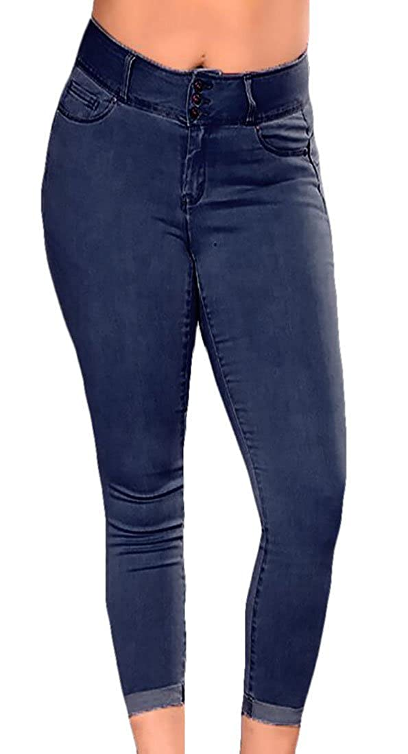 030d9a1d17 KLJR Women High Waist Stretchy Skinny Jeans Slim Fit Plus Size Denim ...